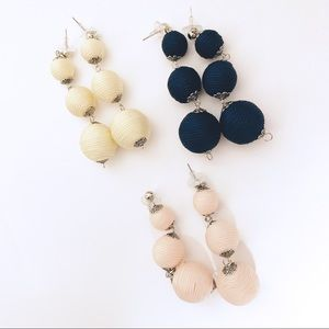 Cord-Wrapped Graduated Round Bead Earrings